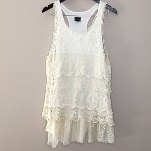 Free People Lace Layered Tank Tunic Large Cream